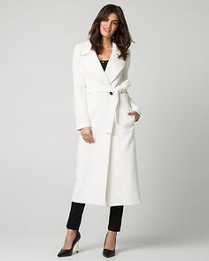 8fbb53726d0 A classic notch collar tops a stylish double weave coat with a flattering  waist-cinching