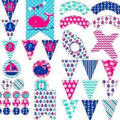 SALE 25% OFF Pink Girls Nautical Birthday Party Decorations Pack Package Digital Download DIY Printable by PocketOfPosiesPrints