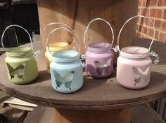 How to Make Mini Lanterns Using Baby Food Jars. Yellow and Gray with double heart design