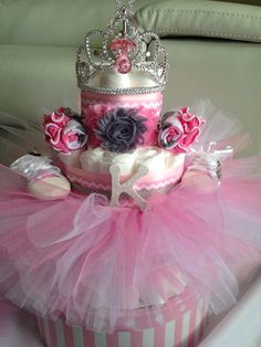 Pink grey chevron/dots tutu diaper Cake for baby shower gift or centerpiece by AFabulousEvent on Etsy https://www.etsy.com/listing/169670543/pink-grey-chevrondots-tutu-diaper-cake