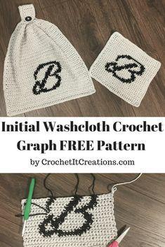 Initial Washcloth Crochet Graph Pattern - Crochet it Creations Crochet Letters Pattern, Crochet Alphabet, Graph Crochet, Tapestry Crochet Patterns, Crochet Towel, Crochet Dishcloths, Crochet Stitches, Washcloth Crochet, Free Crochet