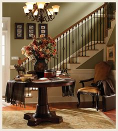 Behr - Shortgrass Prairie and Desert Springs Hallway Colour Schemes, Hallway Paint Colors, Stairs Colours, Behr Paint Colors, Kitchen Paint Colors, Paint Colors For Living Room, Color Schemes, Traditional Staircase, Hallway Decorating