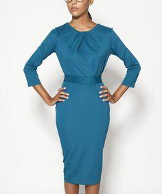 Look what I found on #zulily! Peacock Lexington Three-Quarter Sleeve Dress - Women #zulilyfinds