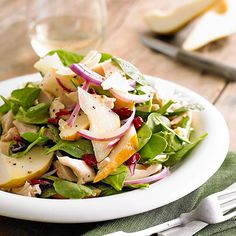 This delicious Chicken, Pear, and Parmesan Salad can be on the table in less than 30 minutes! More of our best healthy no-cook recipes: http://www.bhg.com/...