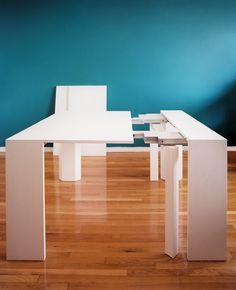 Furniture - Resource Furniture's convertible white console/dining table