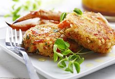 Crab Cakes with Warm Black Truffle Vinaigrette recipe made with canola oil by the Culinary Institute of America