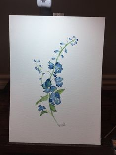 Your place to buy and sell all things handmade Delphinium Tattoo, Delphinium Flowers, Delphiniums, July Birth Flower, Birth Flowers, Watercolor And Ink, Watercolor Flowers, Watercolor Ideas, Watercolor Paintings