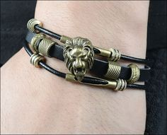 Leather Lion Men Bracelet