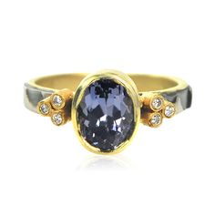 Rebecca Myers Collection Cheetah Ring sapphire, 18ky gold, palladium, diamonds.