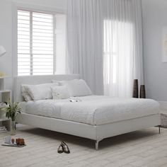 Ariana Small Double Bed In White Faux Leather With Chrome Legs - Buy Modern Bed, Furniture In Fashion