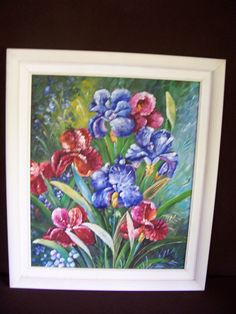 Vintage signed Oil Painting BLUE RED FLOWERS framed and signed by LIZ404 on Etsy