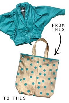 Gold leather tote diy.  Take an ugly old-school leather jacket and turn it into something useful!  Not for the novice seamstress.
