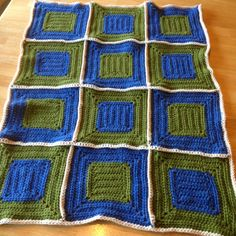 Idea for a Baby boy granny square afghan... I'd add some all star granny squares cause Big Dom is gonna be a rockstar! ;-)