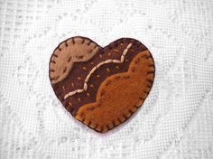 Embroidered heart brooch brown heart felt broach pin by PeachPod, $12.00