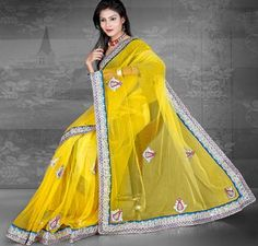 $62.37 Yellow Embroidery and Stone Work Net Party Wear Saree 24176