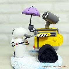 Wall E Eve wedding cake topper decoration gift by annacrafts