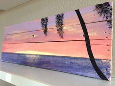 Sunset palm tree, beach pallet art. by PelicanBayStudio on Etsy https://www.etsy.com/listing/223328173/sunset-palm-tree-beach-pallet-art