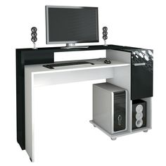 Mesa para Computador Click Branco/Preto - HB Móveis