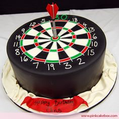 We created this dartboard cake for an avid dart player& birthday party. The cake included red velvet cake with lemon cream cheese. Dartboard Cake, Cake Cookies, Cupcake Cakes, Pastries Images, Sports Themed Cakes, Gateaux Cake, Novelty Cakes, Occasion Cakes, Fancy Cakes