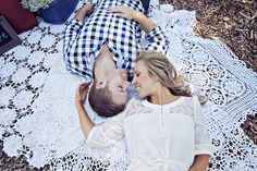 Cute use of doily style shaws as an interesting visual backdrop. Photo by Closer to Love Photography.