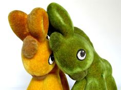 Shy Donkeys, Polymer Toys Set, Green and Yellow Toys, Soviet Vintage Flocking Toys, from USSR era 1970s, Collectible Toysby LittleRetronome, $22.00