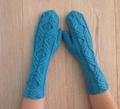 Hand-knitted mittens with pattern / Knitted wool long mittens / Arm Warmers / Winter Wool mittens / Boho style mittens / Hand-dyed yarn