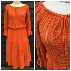 gathered bell sleeves & bow at neck by BeAtSaNdBoHoS on Etsy 1970s Dresses, Vintage Dresses, Crochet Cardigan Pattern, Vestidos Vintage, Crochet Fashion, Beautiful Crochet, Crochet Clothes, Knit Dress, Knit Crochet
