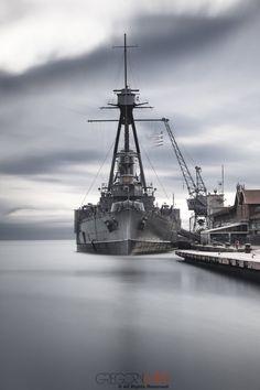 Warship Averof at Thessaloniki Greece
