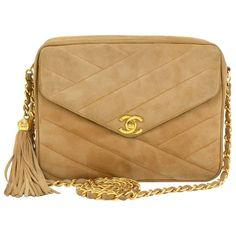 Chanel Brown Quilted Suede Leather Fringe Medium Shoulder Bag 1975-99