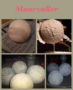 Piepschuim bolletjes bewerkt met muurvuller en afgewerkt met bloem, schoenen poets en koffieprut.