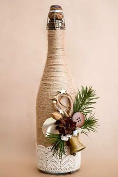 25 Best DIY Wine Bottle Christmas Decorations, Gifts, Crafts and More - Ethinify Wine Bottle Art, Diy Bottle, Wine Bottle Crafts, Twine Wine Bottles, Wrapped Wine Bottles, Bottle Labels, Beer Bottle, Vodka Bottle, Christmas Wine Bottles
