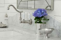 like the vintage feel of this...white gray carrara vintage antiquemirror porcelain julep undermount sink tile grout  Debbie Cummins - Carrara marble sink and backsplash