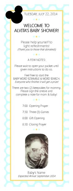 Baby shower agenda bp program schedule showers for Bridal shower itinerary template