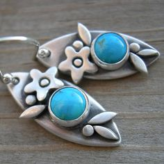 Sweet Turquoise Fine Silver Earrings PMC Winter by westbyron, $46.00