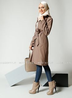 islamische kleidung fuer frauen mymodestystyle.com besuchen sie unsere shop #hijab #abayas #tuekische kleider #abendleider #islamischekleidung  Button Topcoat - Beige - Refka - <p>Fabric Info:</p> <p>100% Polyester</p> <br> <p>Full Lined</p> <p>Weight: 0.704 kg</p> <p>Measures of 38 size:</p> <p>Height: 98 cm</p> <p>Bust: 90 cm</p> <p>Waist: 82 cm</p> <p>Hips: 94 cm</p> - SKU: 232189. Buy now at http://muslimas-shop.com/button-topcoat-beige-refka.html