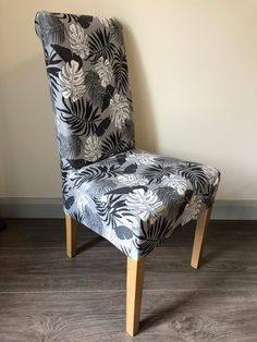 Grey with Charcoal Grey Leaf Chair Cover Dining Chair Covers, Dining Chairs, Accent Chairs, Charcoal, Medium, Grey, Furniture, Home Decor, Upholstered Chairs