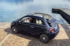 """Created from the meeting of two absolute icons in the motoring and nautical worlds the new Fiat 500 Riva is """"The smallest yacht in the world"""". Fiat 500 Cabrio, Fiat 500c, Fiat Abarth, My Dream Car, Dream Cars, Fiat 500 Black, Fiat 500 Lounge, Automobile, New Fiat"""