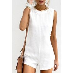 SheIn offers Boat Neck Backless Sweater Jumpsuit & more to fit your fashionable needs. Backless Playsuit, Backless Sweater, Moda Outfits, Honeymoon Outfits, Vintage Jumpsuit, Knitted Romper, White Romper, Rompers Women, White Outfits