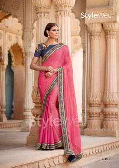 Beautiful Chiffon Gajri Color Stone & Embroidered Work Saree After placed order you should submit Measurement Here