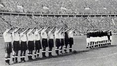 England perform a Nazi salute before a game in Berlin. 100,000 fans turned up for the match. 1938.