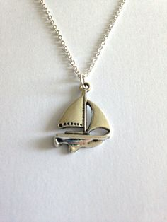 Life on the Open Sea Silver Charm Pendant by EvenstarPrettyThings Flower Center, Organza Gift Bags, Silver Charms, Charmed, Necklaces, Pendant Necklace, Sea, Chain, Gifts