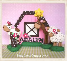 Pink Barnyard Birthday Keepsake Cake Topper Set by jelly beads, via Flickr