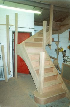 Set of stairs made by Merrin Joinery in our Nottinghamshire workshop Wooden Staircases, Pin Image, Joinery, Bespoke, Workshop, Stairs, Loft, Furniture, Home Decor