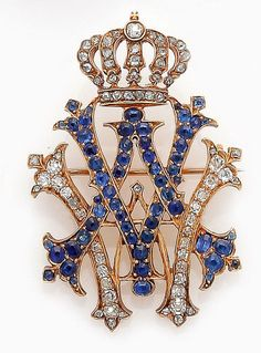Gold, sapphire and diamond brooch with the monogram of Queen Auguste Viktoria of Prussia, wife of Kaiser Wilhelm II