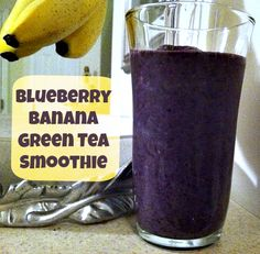 Green tea supports your immune system, so I like to blend it into my morning smoothie! I added bananas and frozen blueberries to make it creamy and antioxidant-rich!