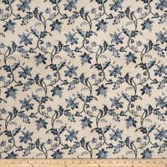 Blue and Ivory Floral Fabric - 'Violet Indigo' - Fabric No: 1683401 - Rayon, Polyester, Woven - Charlotte Moss Volume I & II - Fabricut Floral Upholstery Fabric, Floral Fabric, Eaton Square, Calico Corners, Blue And White Fabric, Fabricut Fabrics, Passementerie, Home Decor Fabric, Upholstered Furniture