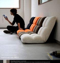Rakuten: Legless chair low-elasticity seat chair seat chair Lycra inning reclining chair floor chair J. pulse floor chair BELL (bell)■- Shopping Japanese products from Jap Futons, Coin Banquette, Ideas Terraza, Futon Design, Meditation Chair, White Futon, Black Futon, Home Furniture, Furniture Design