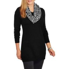 Faded Glory Women's Tunic Sweater with Scarf, Size: Large, Black