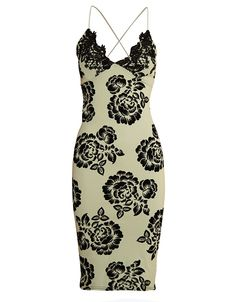 BABY BLUE EMBOSSED FLOCK FLORAL BODYCON MIDI DRESS WITH LACE DETAIL £ 3.95