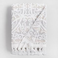 One of my favorite discoveries at WorldMarket.com: Taupe Medallion Scarlett Sculpted Bath Towel